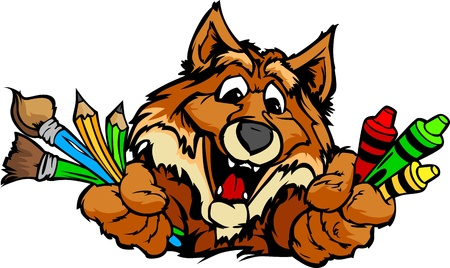 Kindergarten School Fox with crayons and paint brushes, and art supplies in Paws Smiling Mascot Vector Illustration Illustration