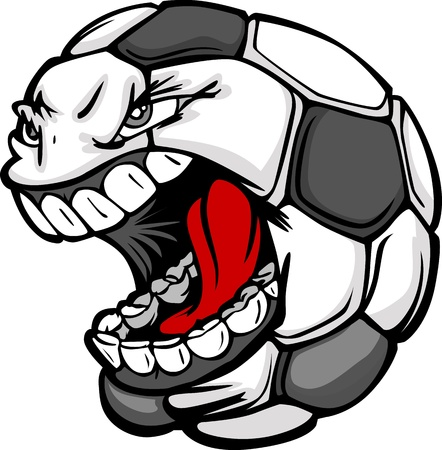 screaming head: Vector Cartoon Soccer Ball with Screaming Face