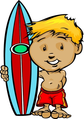 Boy Cartoon Surfer with Swimsuit and Surboard Vector Illustration