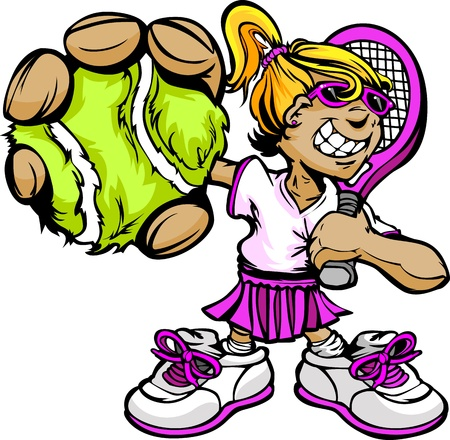 raqueta de tenis: Tennis Girl Cartoon jugador con la raqueta y la pelota Vector Illustration Vectores