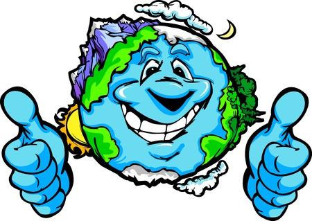 planeta tierra feliz: Imagen de la historieta del vector de un planeta Tierra sonriente feliz con las montañas y los océanos que da los pulgares para arriba