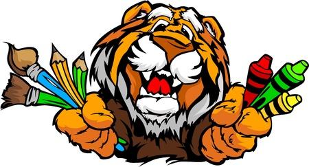 Kindergarten School Tiger met kleurpotloden en penselen, en kunst levert in Paws Glimlachen Mascot Vector Illustratie Stock Illustratie