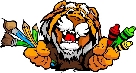 art supplies: Kindergarten School Tiger with crayons and paint brushes, and art supplies in Paws Smiling Mascot Vector Illustration