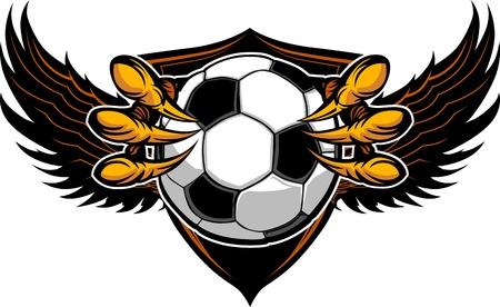 ファルコン: グラフィックのベクター画像はワシの鉤爪か鉤爪にサッカー ボールを保持しています。  イラスト・ベクター素材