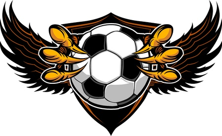 grab: Graphic Vector Image of a  Eagle Claws or Talons Holding Soccer Ball