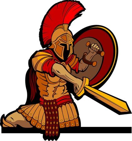 cascos romanos: Griego espartano o mascota soldado romano que sostiene un escudo y la espada Vectores