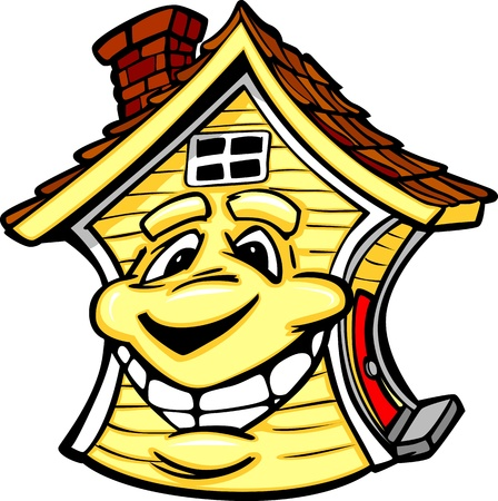 Cartoon Vector Image of a Happy Smiling House  Stock Vector - 15441889