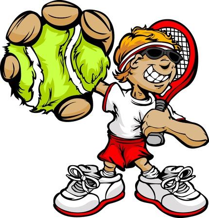 raqueta de tenis: Tenis Cartoon Boy Player con raqueta y pelota Vector Illustration