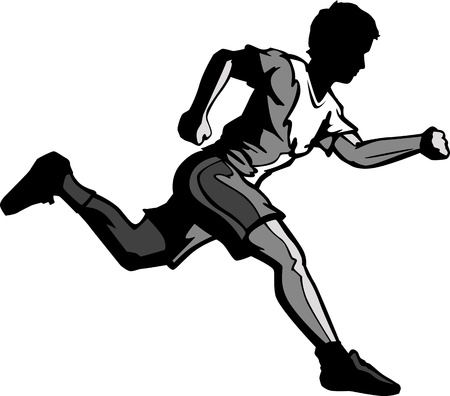 jogging track: Cartoon Vector Silhouette of a Boy Running