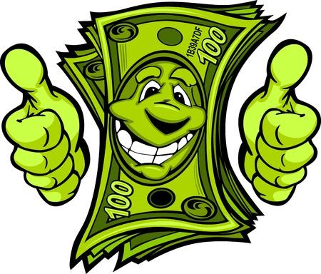 Cartoon Geld und Hände mit Daumen hoch Vector Cartoon Bild Standard-Bild - 15441897