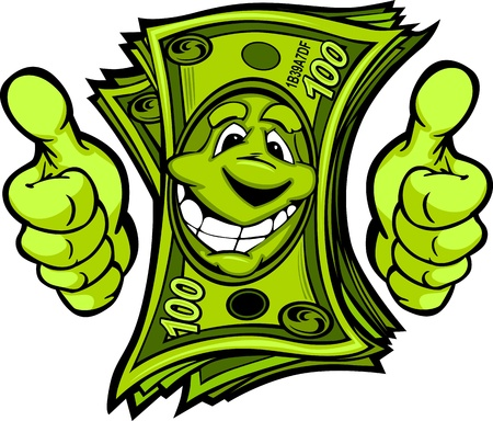 money in hand: Cartoon Money and Hands with Thumbs up Vector Cartoon Image