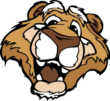 cougar: Cougar or Moutain Lion Mascot with Cute Face Cartoon Vector Image
