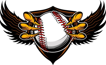 softball: Graphic Vector Image of a  Eagle Claws or Talons Holding Baseball