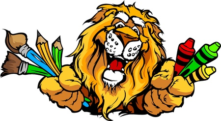 Kindergarten School Lion with crayons and paint brushes, and art supplies in Paws Smiling Mascot Vector Illustration Vettoriali
