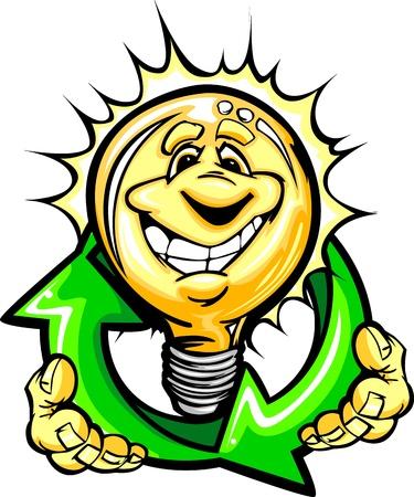 에너지 절감을위한 미소 얼굴 holiding 재활용 화살표 만화 전구