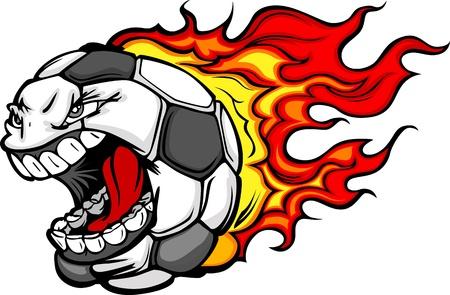 Cartoon Imagen vectorial de un balón de fútbol llameante con la cara enojada Ilustración de vector