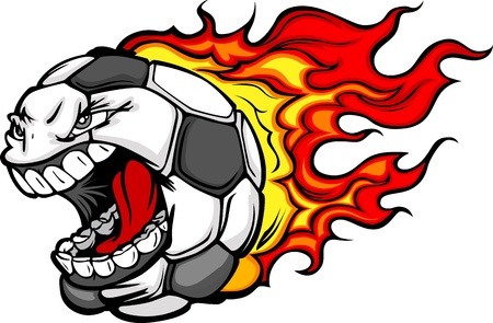 pelota caricatura: Cartoon Imagen vectorial de un bal�n de f�tbol llameante con la cara enojada