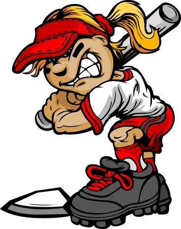 softbol: Fast Pitch Softball muchacha de la historieta con reproductor Ilustración Vector Bat Vectores