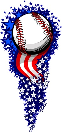 fire works: Stars and Stripes Fireworks Patriotic Baseball Vector Illustration