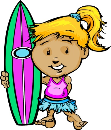 surfer: Girl Cartoon Surfer with Swimsuit and Surboard Vector Illustration