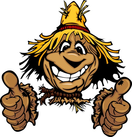 Cartoon Scarecrow with Smiling Face Wearing Straw Hat giving thumbs up gesture Vector Image Illustration