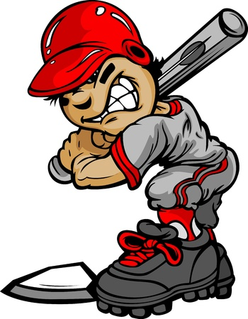 Fast Pitch Baseball Boy Cartoon Player with Bat Illustration