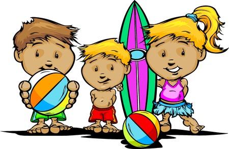 chica surf: Los ni�os de dibujos animados con trajes de ba�o y piscina o ilustraci�n Juguetes de playa