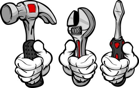 chauffeurs: L'image de bande dessin�e de la main tenant Home Repair Tools Marteau, Cl� et tournevis Illustration