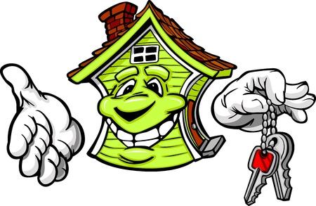 Cartoon imagen de una casa feliz sonriente con las manos que sostienen Teclas principales Ilustración de vector