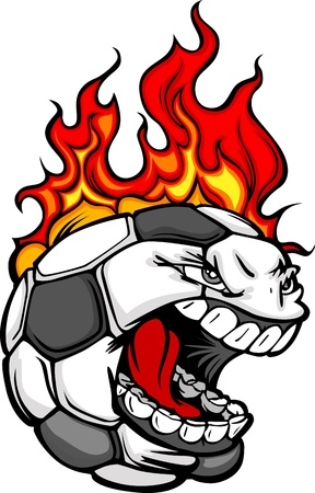 Flaming Soccer Ball Face Cartoon Illustration  Illustration