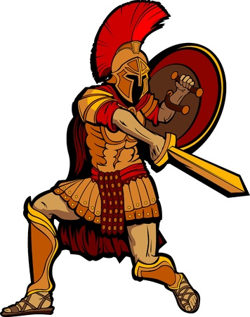 the romans: Greek Spartan or Roman Soldier Mascot holding a Shield and Sword