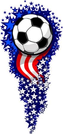 Stars and Stripes Fireworks Patriotic Soccer Ball  Illustration