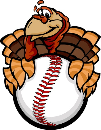 Turkey Holding a Baseball Ball Vector