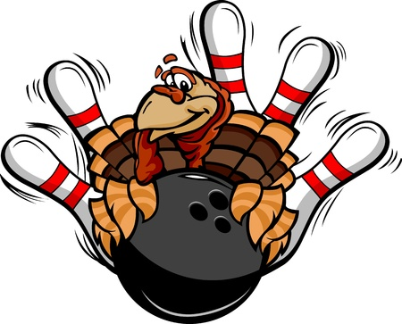 Turkey Holding a Bowling Ball Surrounded by Bowling Pins