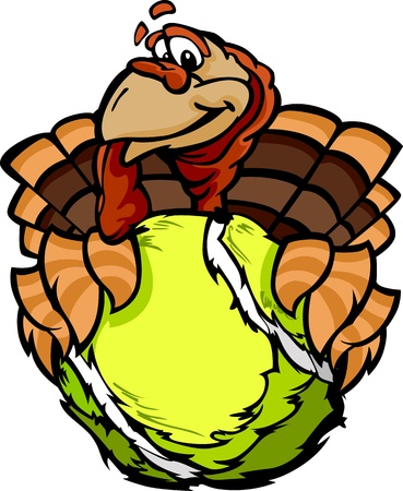 fall images: Turkey Holding a Tennis Ball  Illustration