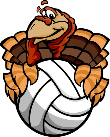 fall images: Turkey Holding a Volleyball Ball