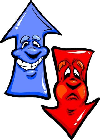 downward: Cartoon Image of a Happy Upward Pointing Arrow and an Unhappy Downward Pointing Arrow Illustration