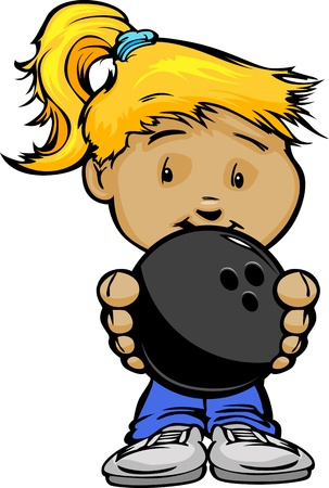 Cartoon Illustration of a Cute Kid Girl with Hands holding Bowling Ball