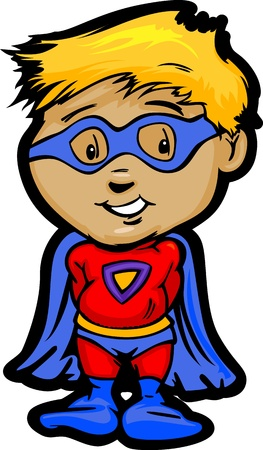 Cartoon Vector Image of a Happy Hero Boy With Cape and Mask  Ilustrace