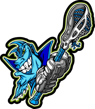 Graphic Image of a Blue Demon Mascot with Lacrosse Gloves holding Lacrosse Stick Vettoriali