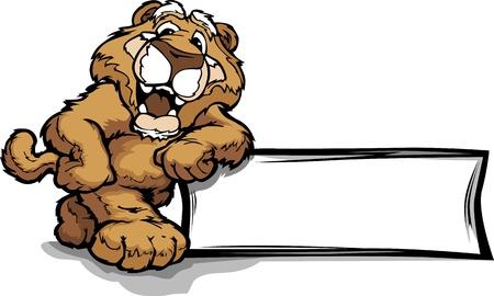 puma: Mountain Lion o Cougar sorridente mascotte Appoggiato su un segno illustrazione
