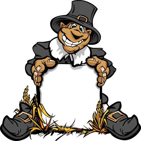 Vector afbeelding van een Gelukkige Thanksgiving Vakantie Pigrim die een Teken Stock Illustratie