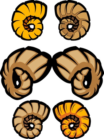 Variety of Cartoon Ram Horn Illustrations Vector