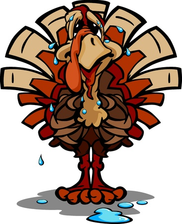 Cartoon Image of a Sweating Thanksgiving Holiday Turkey with Worried Expression