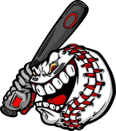 fast ball: Cartoon Baseball Ball Face Holding Baseball Bat Illustration