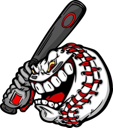 Cartoon Baseball Ball Face Holding Baseball Bat Illustration