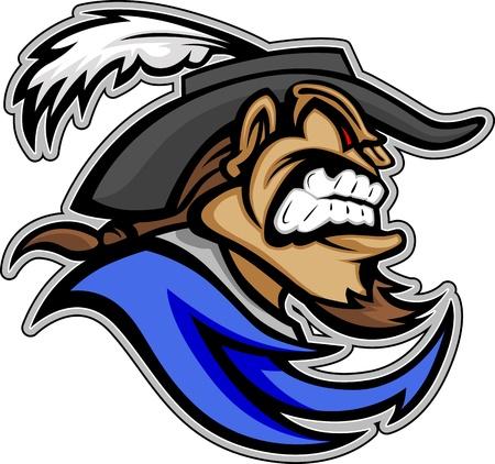 mosquetero: Mosquetero o Cavalier Cabeza con sombrero y barba Perilla Imagen Mascot Graphic Vectores
