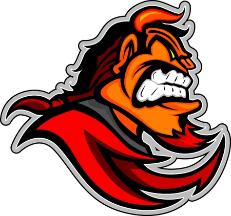 Graphic  Image of a Red Devil or Demon Mascot Head