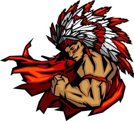 indian chief mascot: Graphic Native American Indian Chief Mascot with Headdress Flexing Arm   Illustration