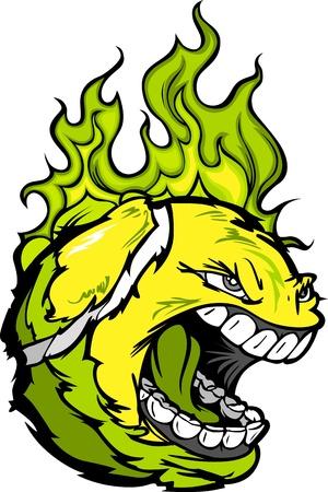 Flaming Tennis Ball Face Cartoon Illustration